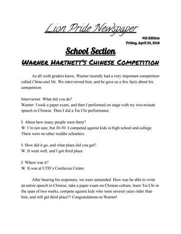 6th Grade Class Newspaper (Apr 20, 2018) by St  Mark's School of