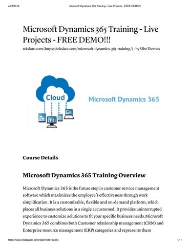 Microsoft dynamics 365 training live projects free demo