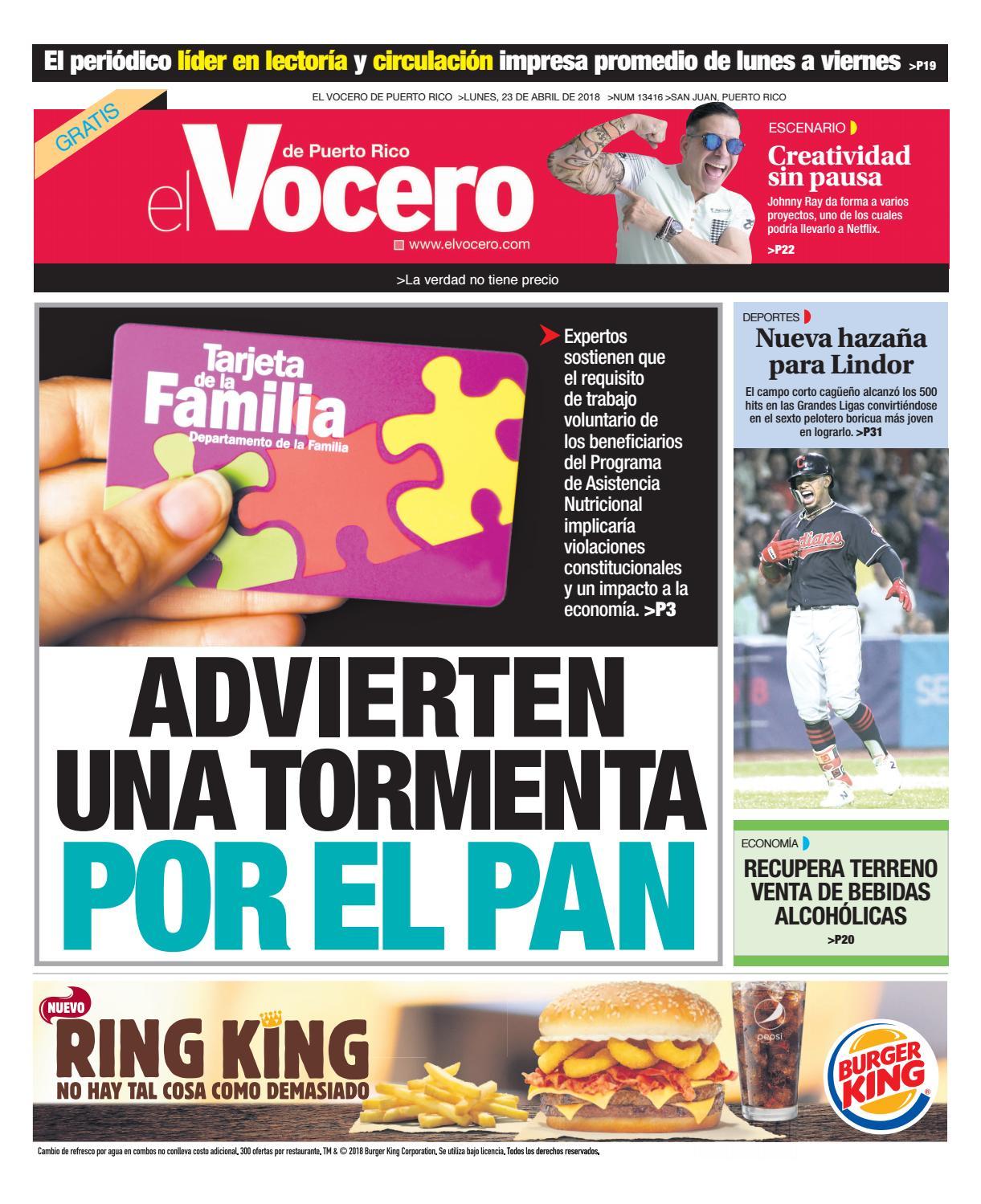 Edición del 23 de abril de 2018 by El Vocero de Puerto Rico - issuu 67e17978375