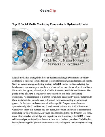 Top 10 Social Media Marketing Services in Hyderabad by