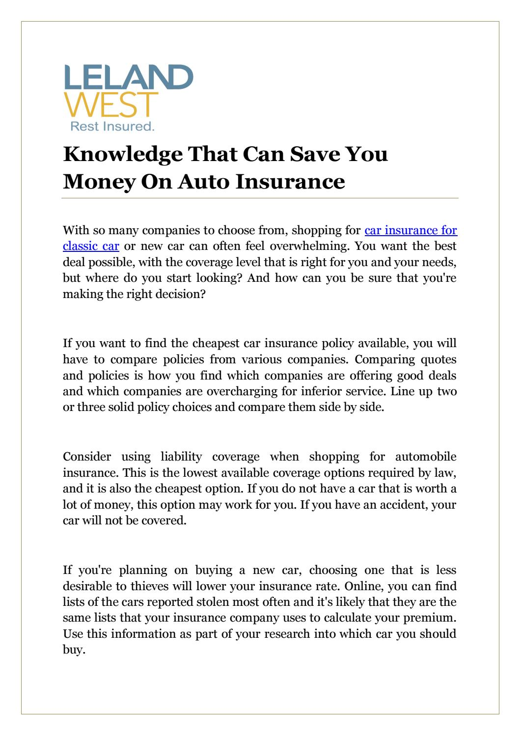 Knowledge That Can Save You Money On Auto Insurance By Antique Car Insurance Issuu