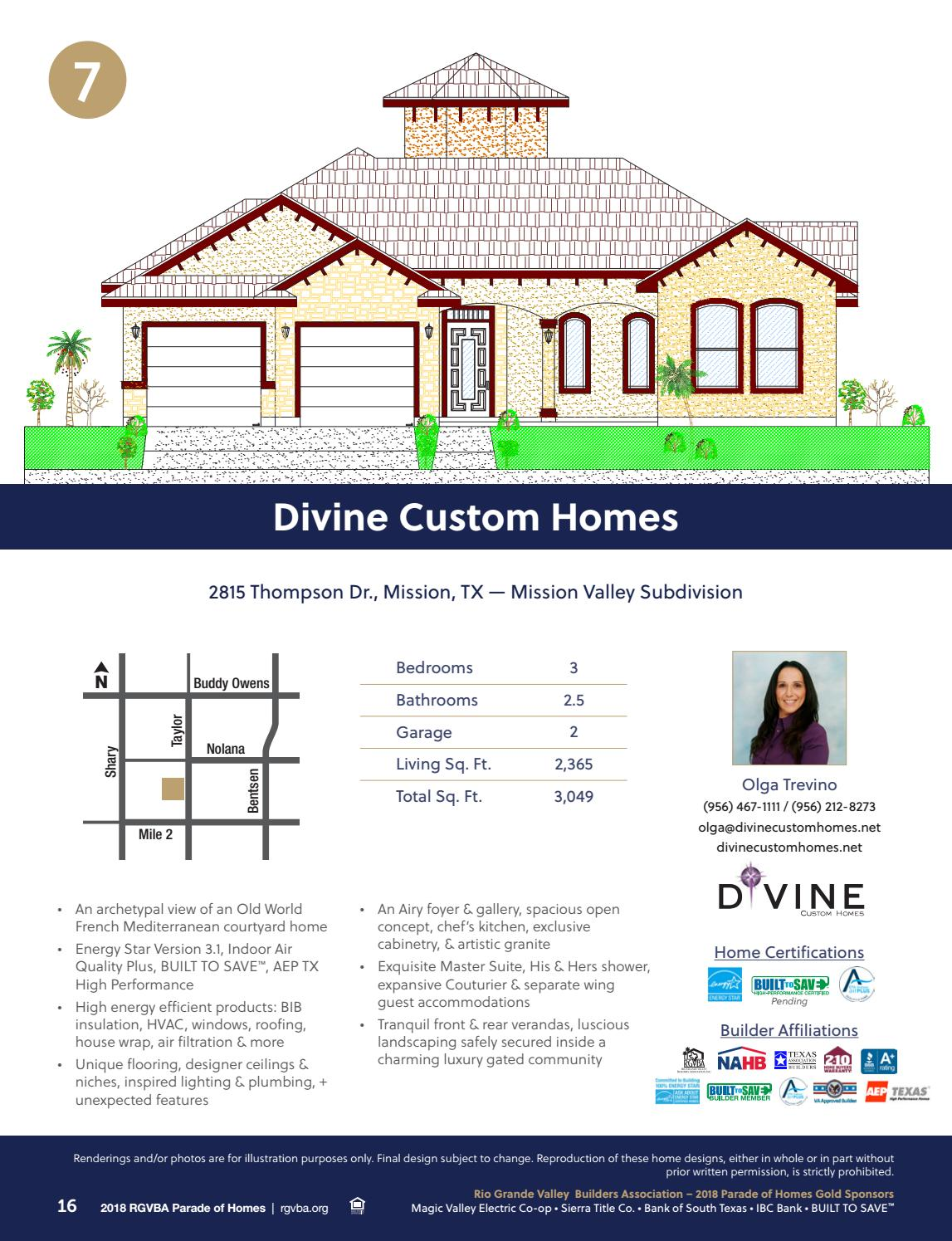 2018 RGVBA Parade of Homes Guidebook by New Homes South