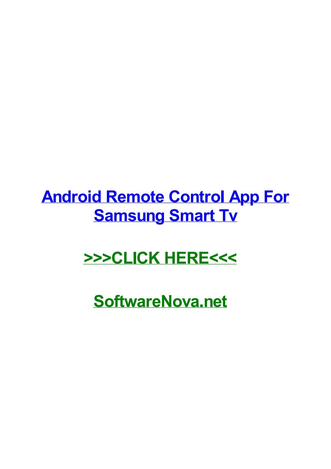 Android remote control app for samsung smart tv by