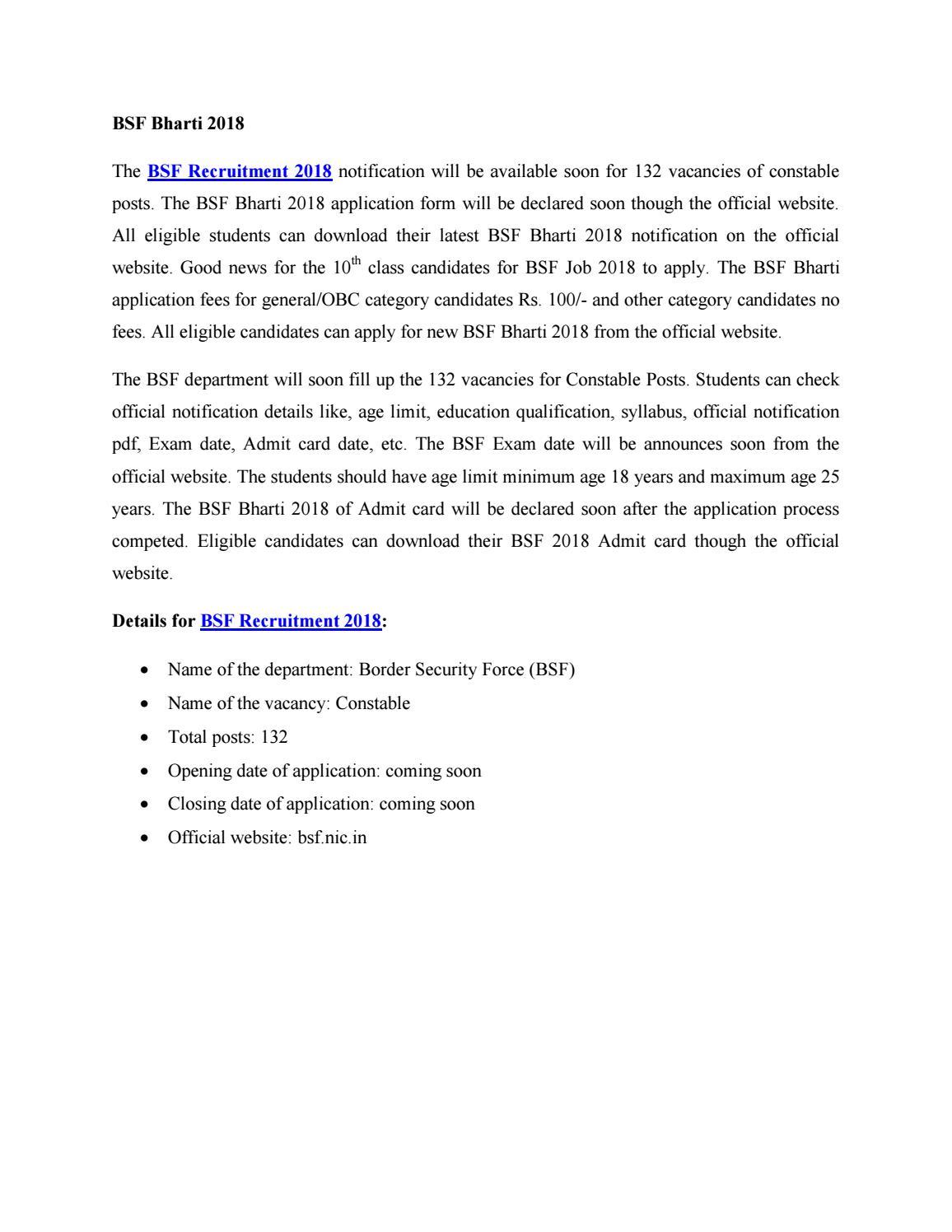 Bsf Recruitment 2015 Application Form Pdf
