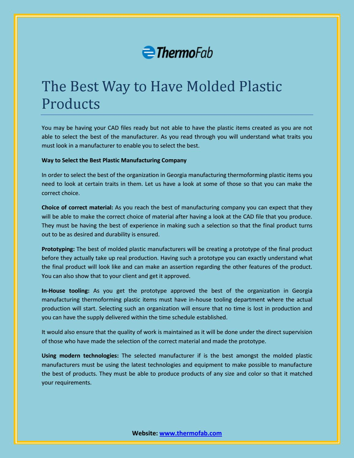 The Best Plastic Manufacturing Company In MA by Jerry Wilson