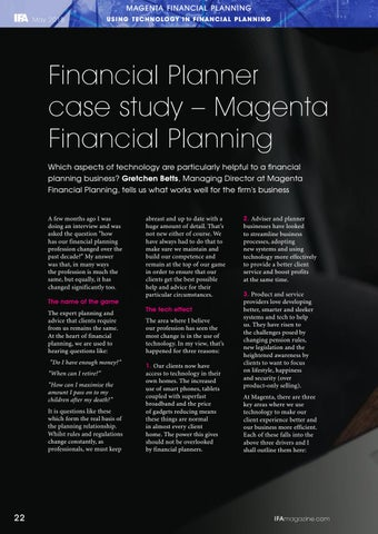 Page 22 of Using Technology In Financial Planning - Case Studies