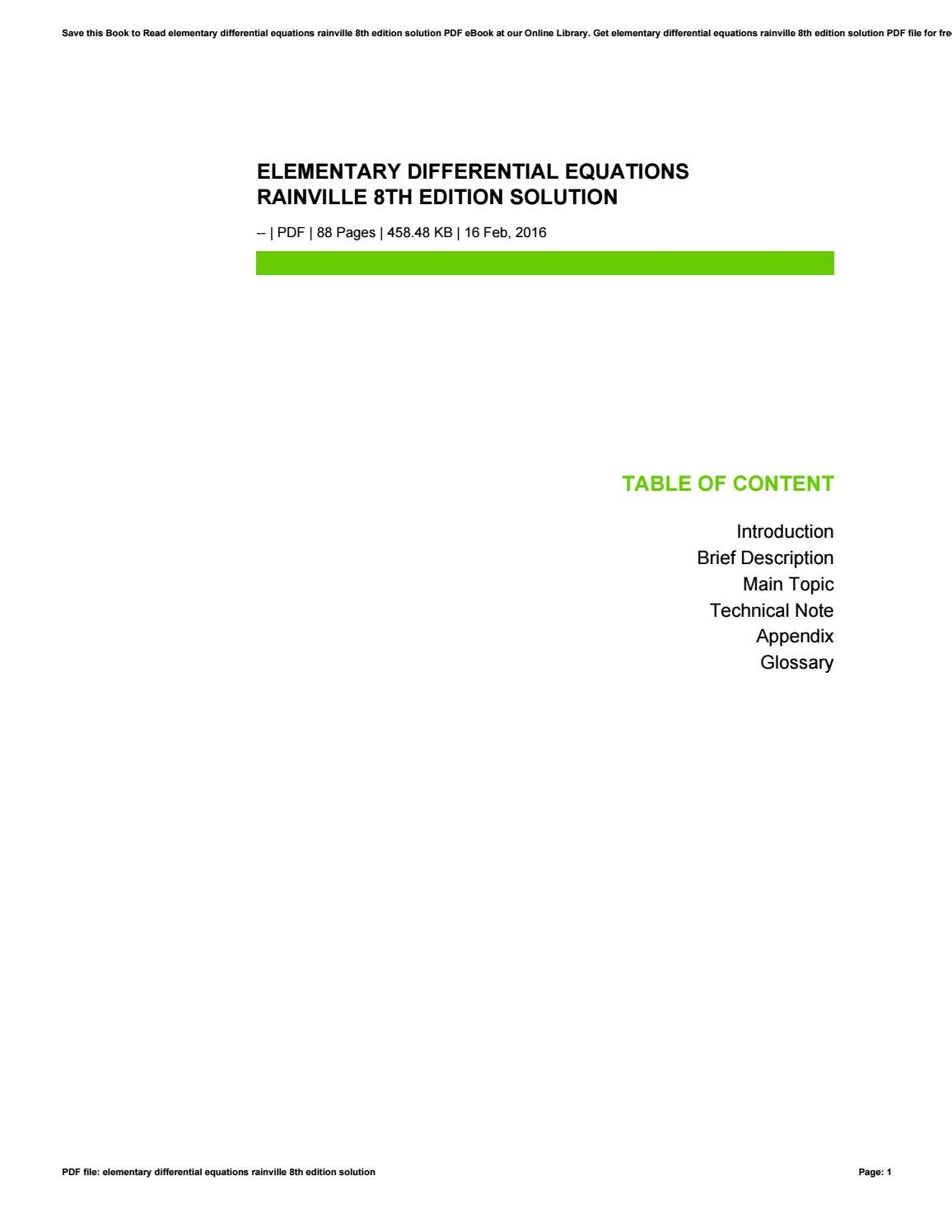 Elementary differential equations rainville 8th edition solution by s065 -  issuu