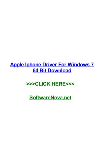 Apple iphone driver for windows 7 64 bit download by