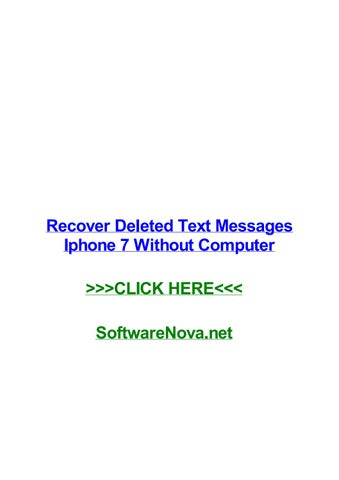 Recover deleted text messages iphone 7 without computer by