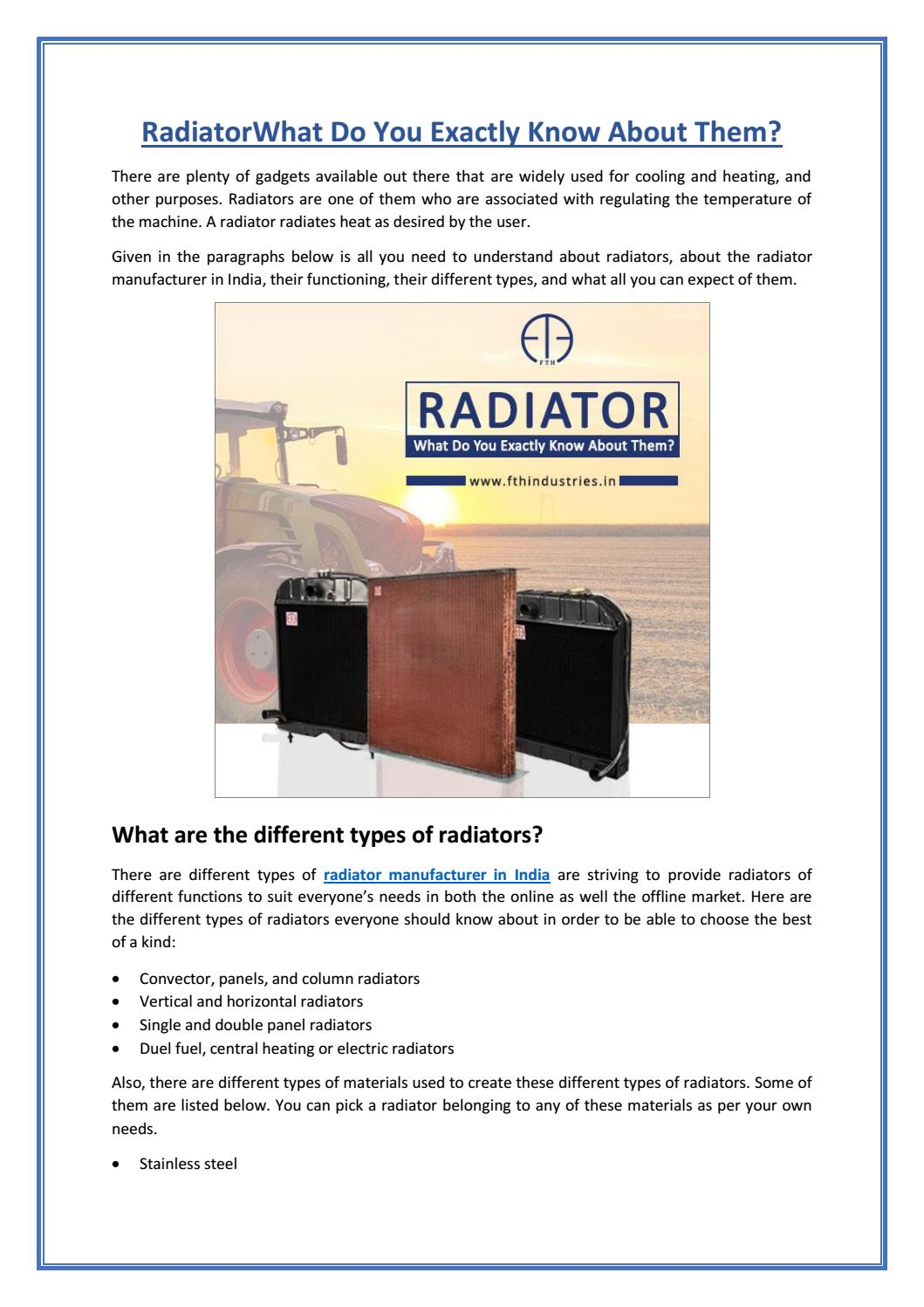 Factors that keep in mind while choosing a radiator by fthindustries ...