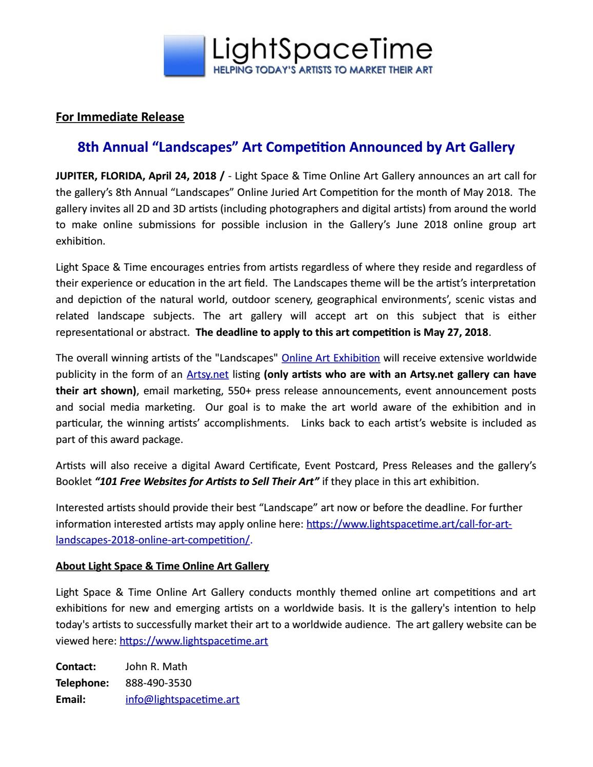 Call For Art Theme Landscapes Online Art Competition By Light Space Time Online Art Gallery Issuu