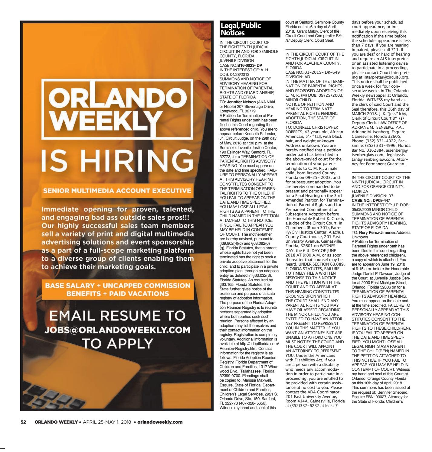 Orlando Weekly April 25, 2018 by Euclid Media Group - issuu