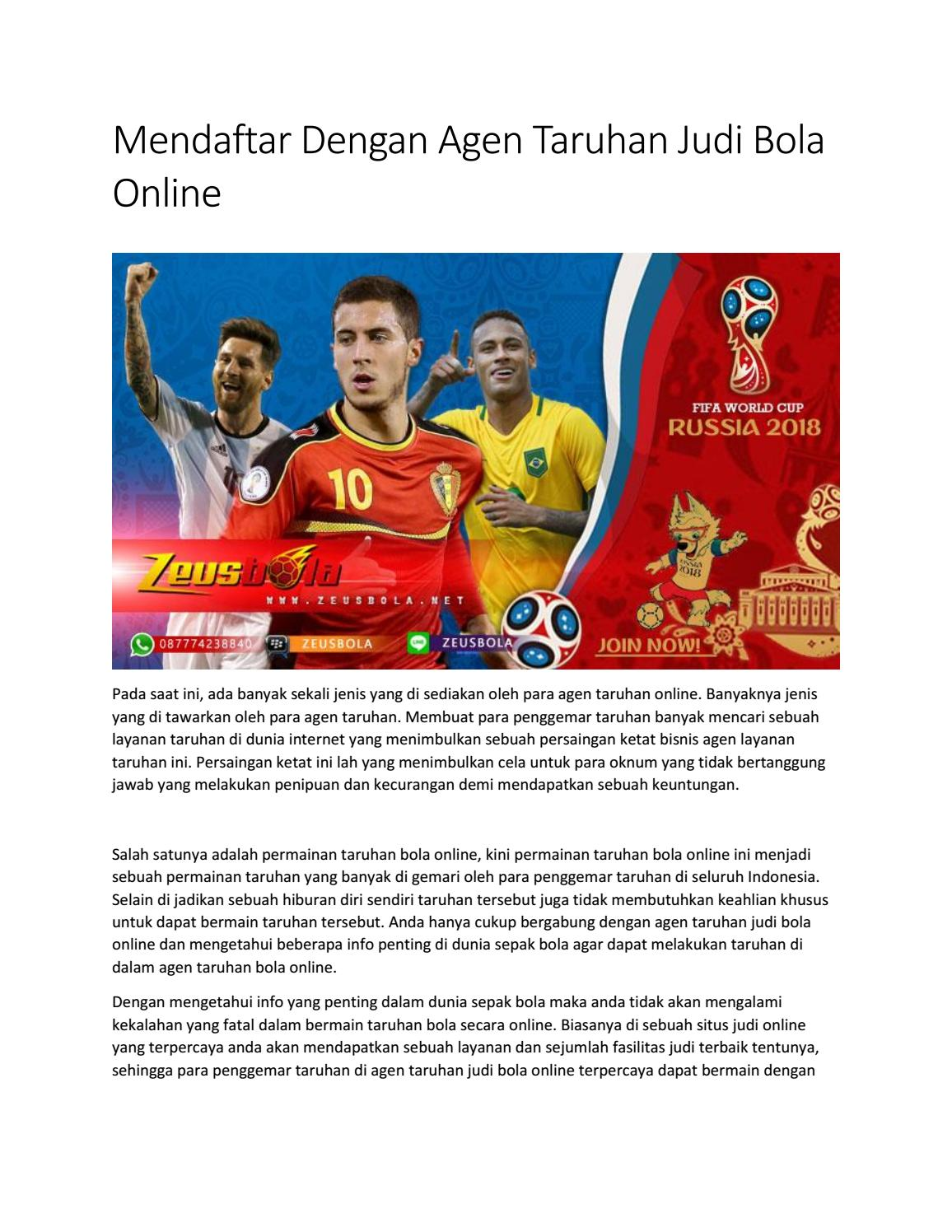 Mendaftar Dengan Agen Taruhan Judi Bola Online By Zeus Issuu