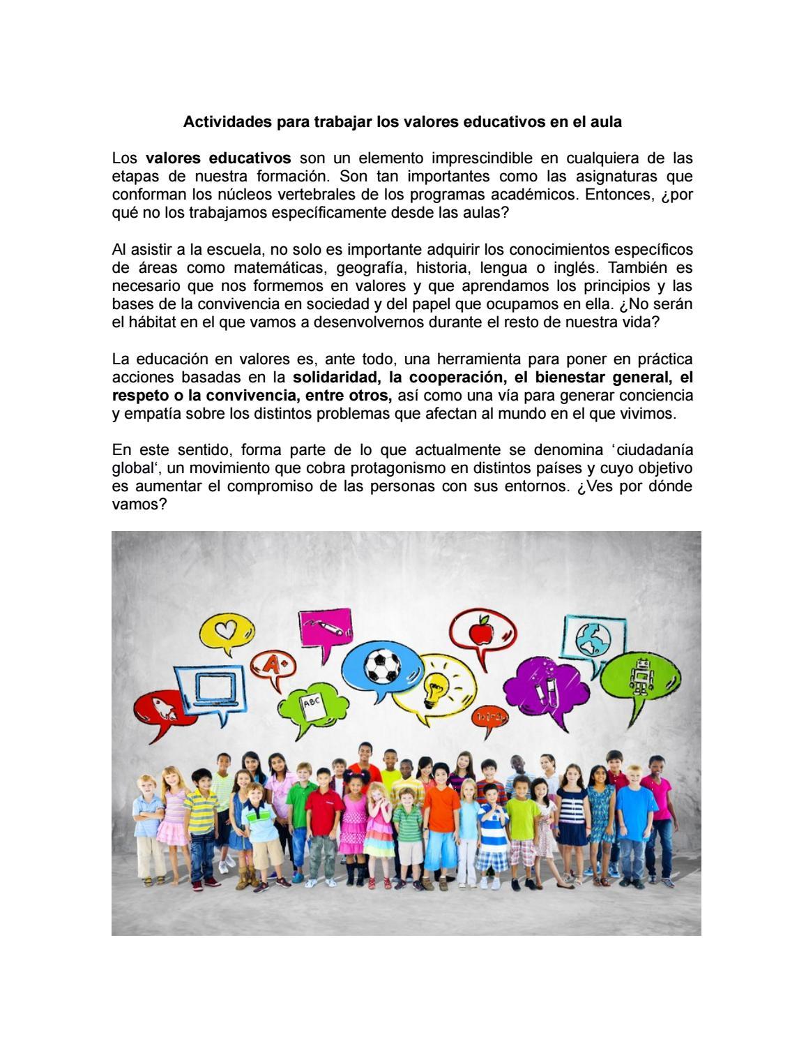 Actividades Para Trabajar Los Valores Educativos En El Aula By Karla Juárez M Issuu
