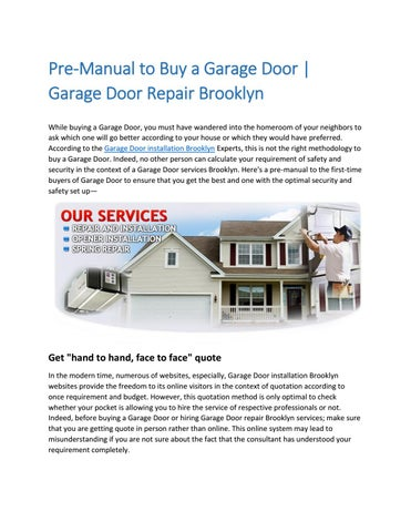 Brooklyn Garage Doors Installations And Repair Services By Anu