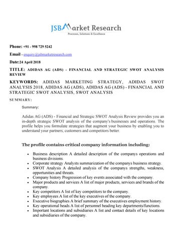 Adidas Ag Ads Financial And Strategic Swot Analysis Review By Pooja Issuu