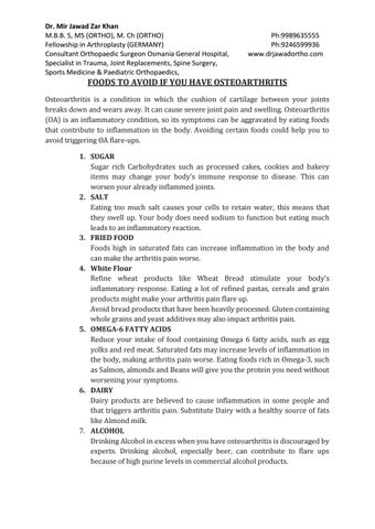 FOODS TO AVOID IF YOU HAVE OSTEOARTHRITIS by drjawadortho - issuu