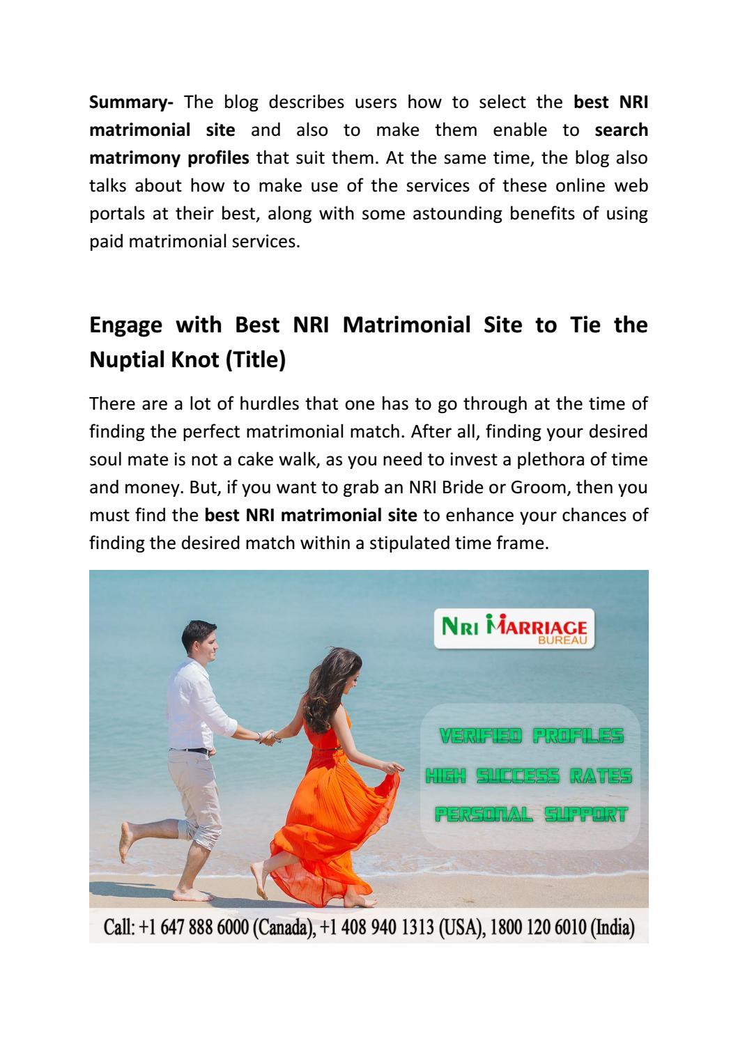 Best matrimonial site nri marriage bureau by