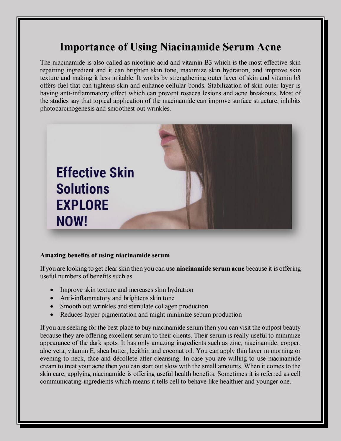 Importance Of Using Niacinamide Serum Acne By Theoutpostbeauty Issuu