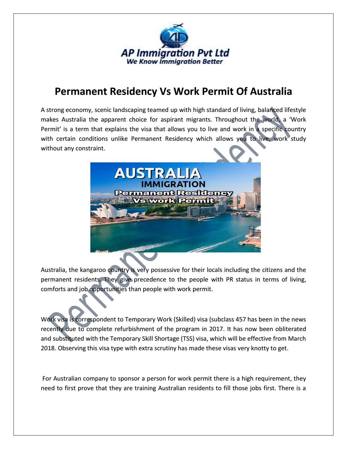 Permanent residency vs work permit of australia by Shweta