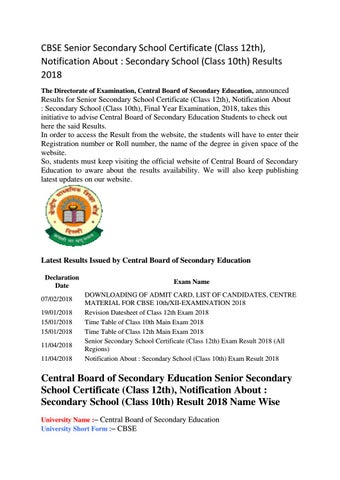 Cbse senior secondary school certificate results by Education Portal ...