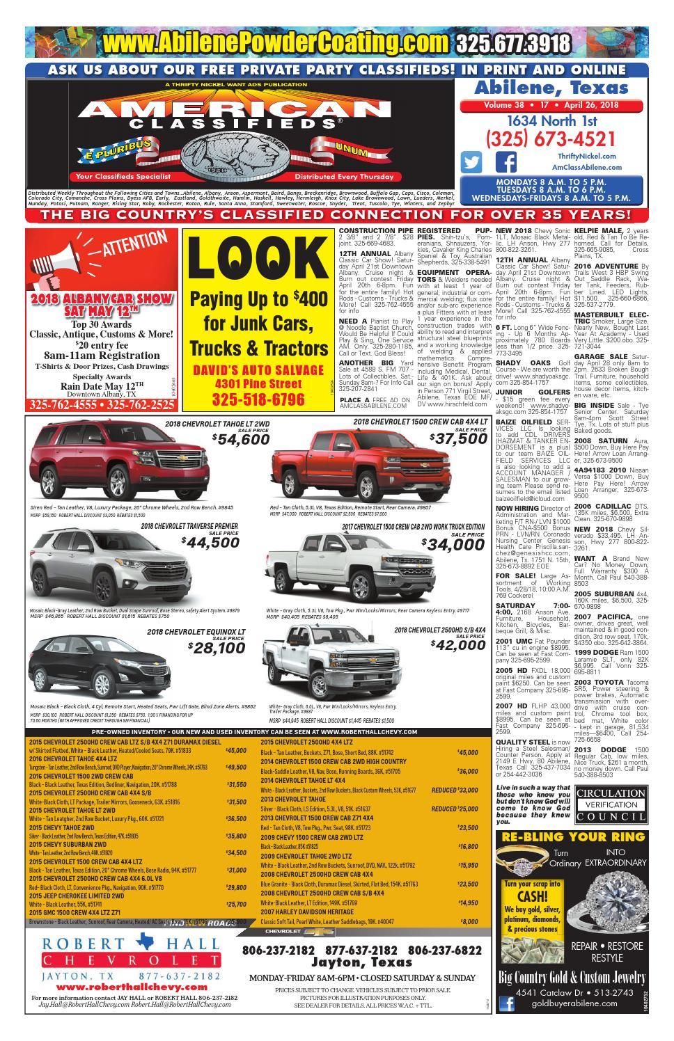 North Knox Auto >> American Classifieds Abilene 04-26-18 by American Classifieds Abilene, Texas - Issuu