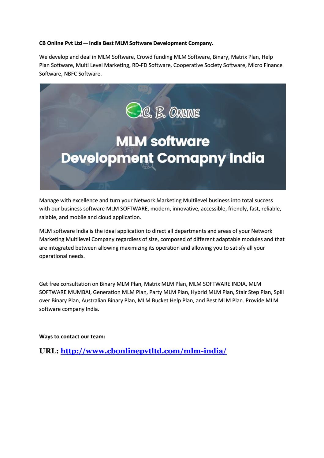 CB Online Pvt Ltd — India Best MLM Software Development