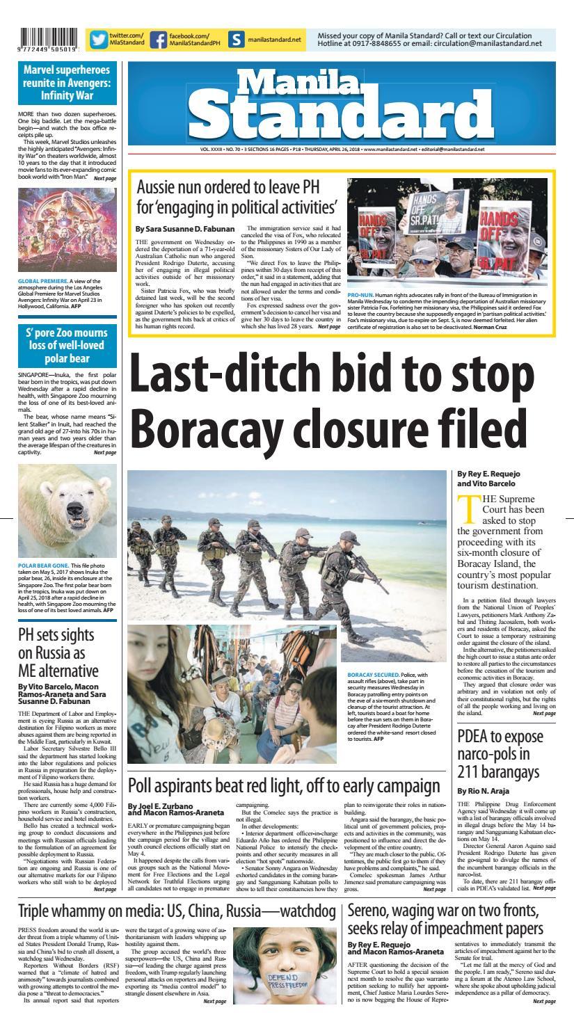5ed75e14f9b0 Manila Standard - 2018 April 26 - Thursday by Manila Standard - issuu