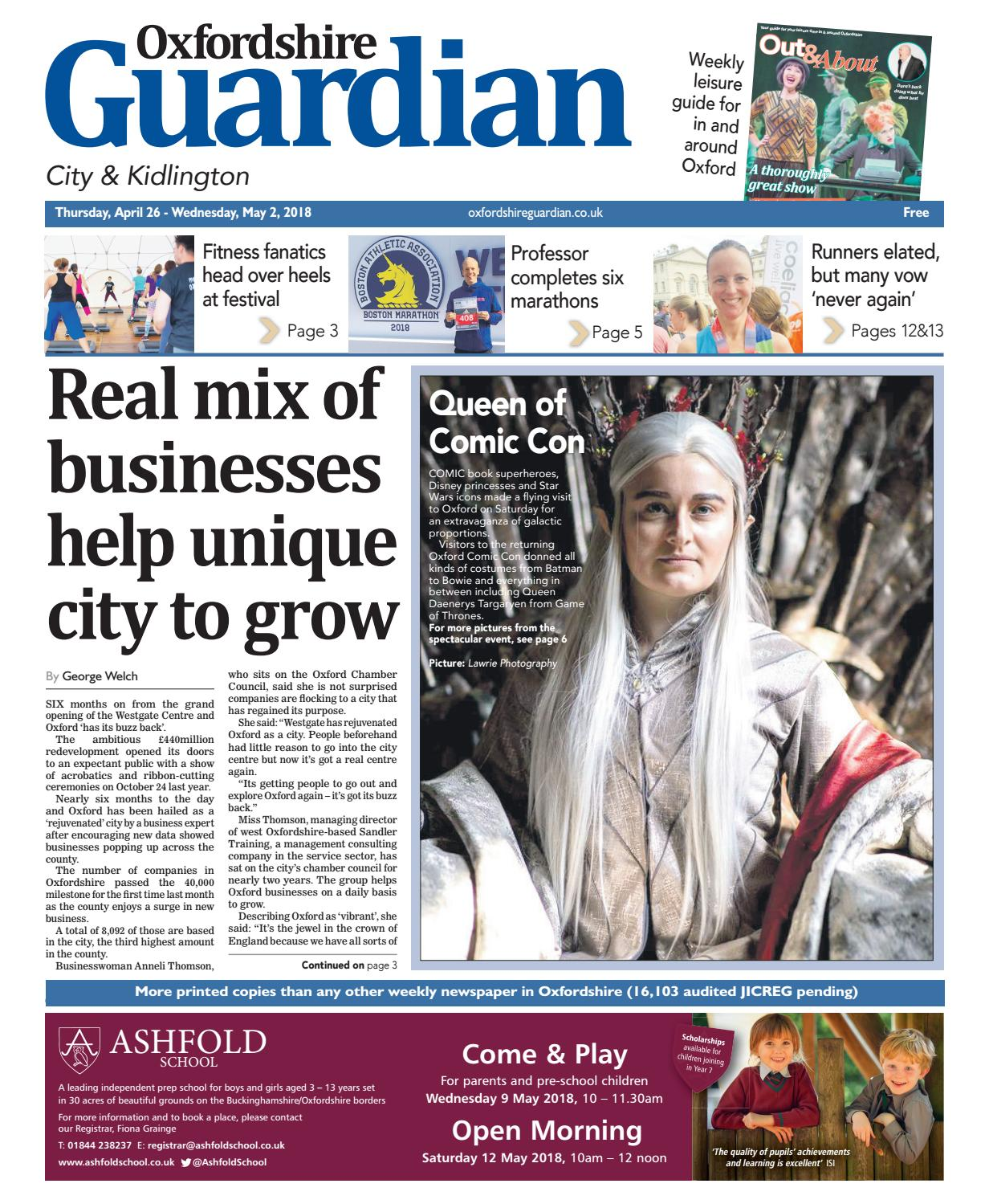 26 April 2018 Oxfordshire Guardian City By Taylor Newspapers Issuu Pigeon Baby Wipes Pure Water 82 Sheets Isi 2 Pcs