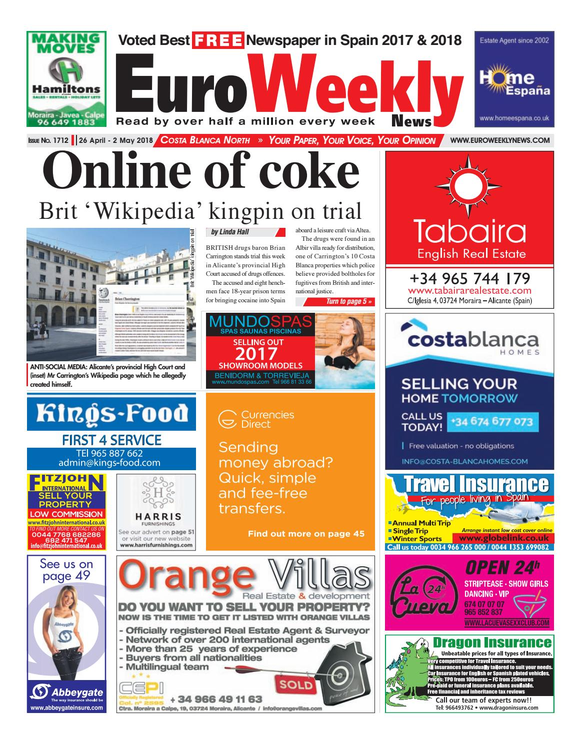 Euro Weekly News - Costa Blanca North 26 April - 2 May 2018 Issue 1712 by  Euro Weekly News Media S.A. - issuu 785ec4879