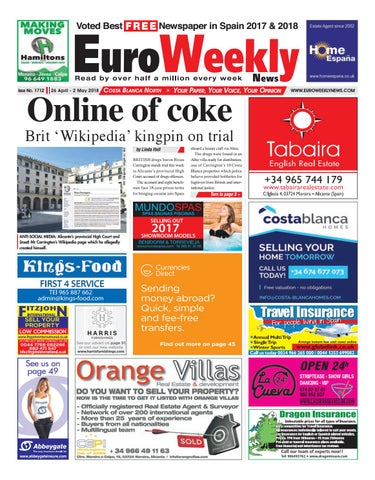 f04874e1e230c Euro Weekly News - Costa Blanca North 26 April - 2 May 2018 Issue ...