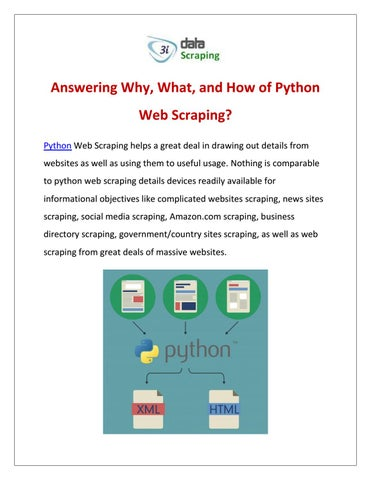 Answering Why, What, and How of Python Web Scraping? by 3i Data