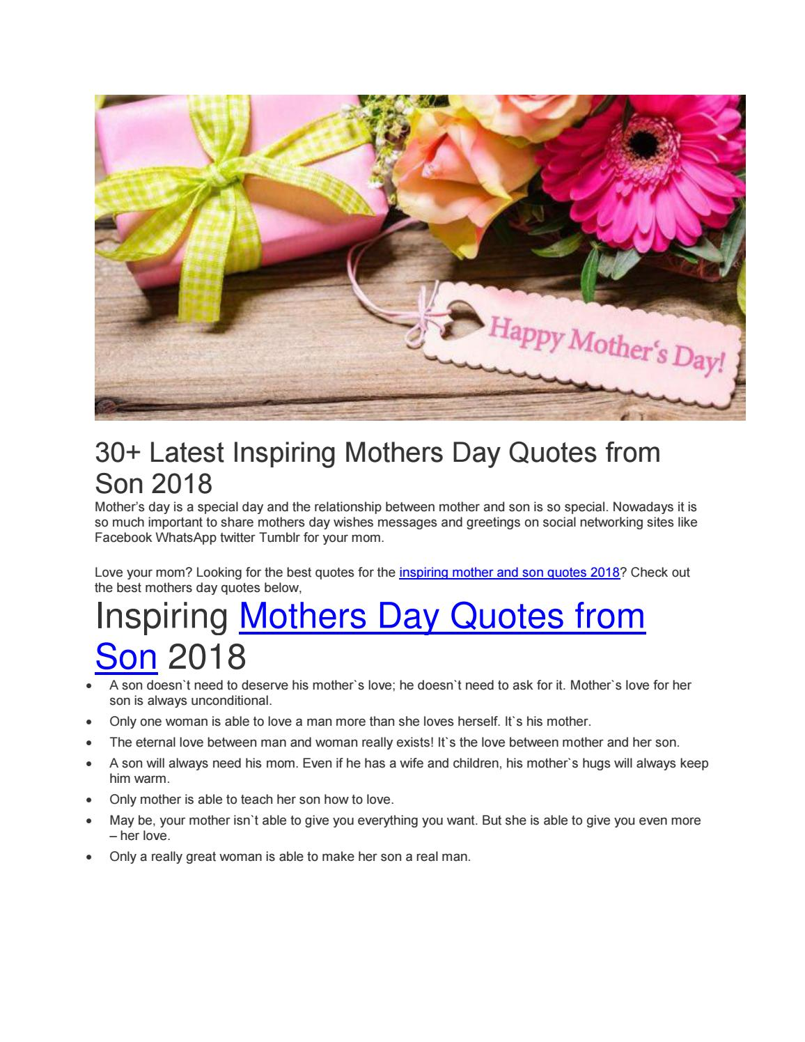30 latest inspiring mothers day quotes from son 2018 by Zill