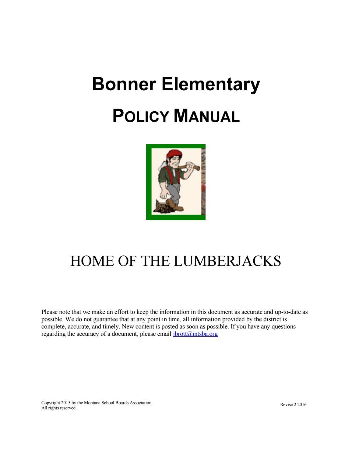 Bonner Elementary Policy Manual by Montana School Boards Association - issuu