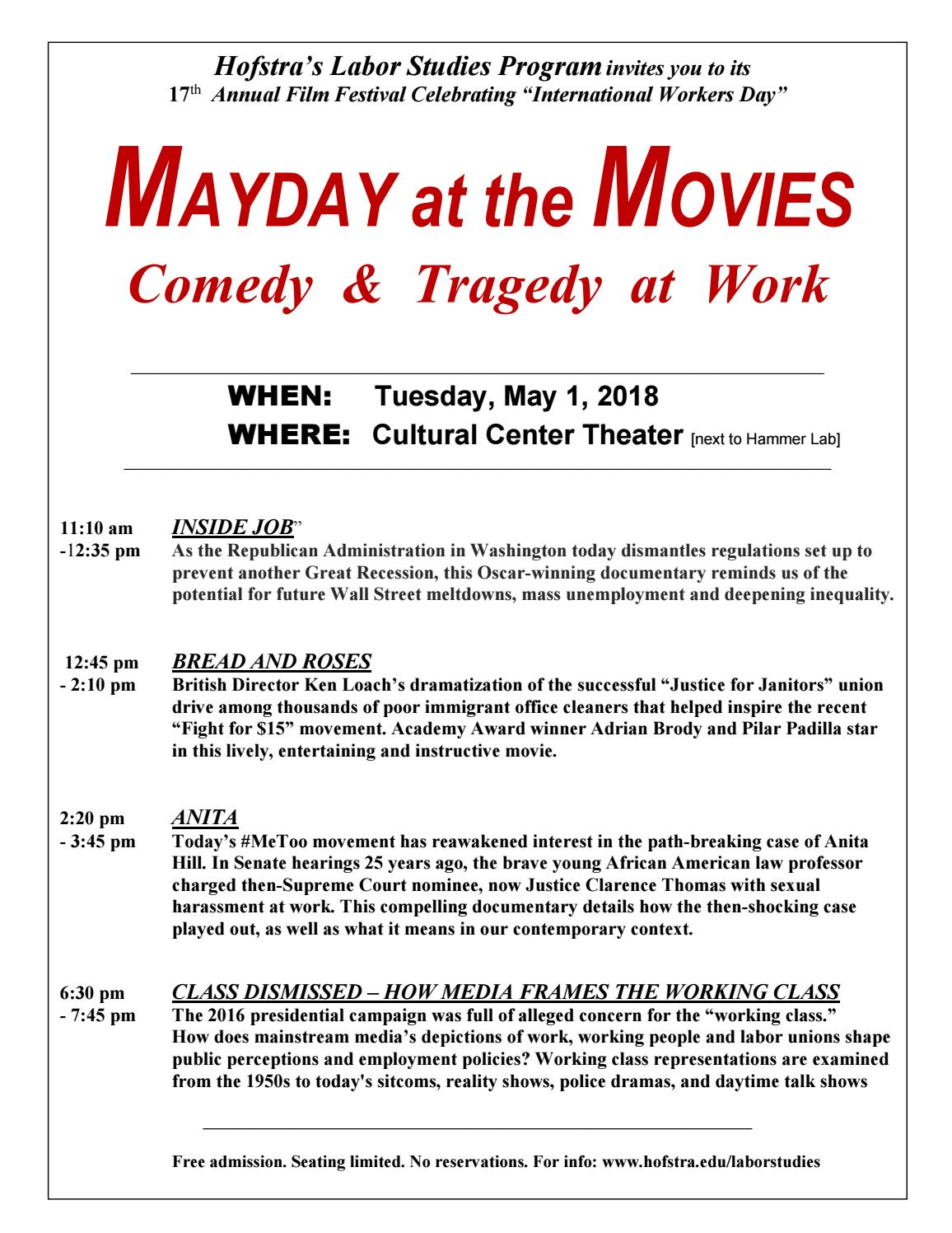 Mayday At The Movies 2018 Film Schedule By Hofstra University Issuu
