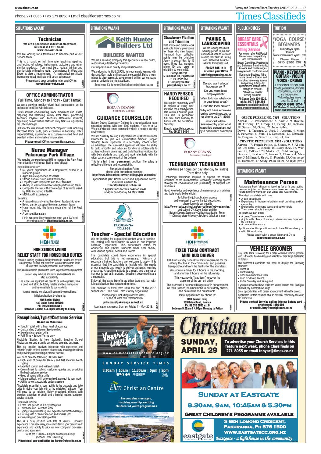Botany and Ormiston Times, April 26, 2018 by Times Media - issuu