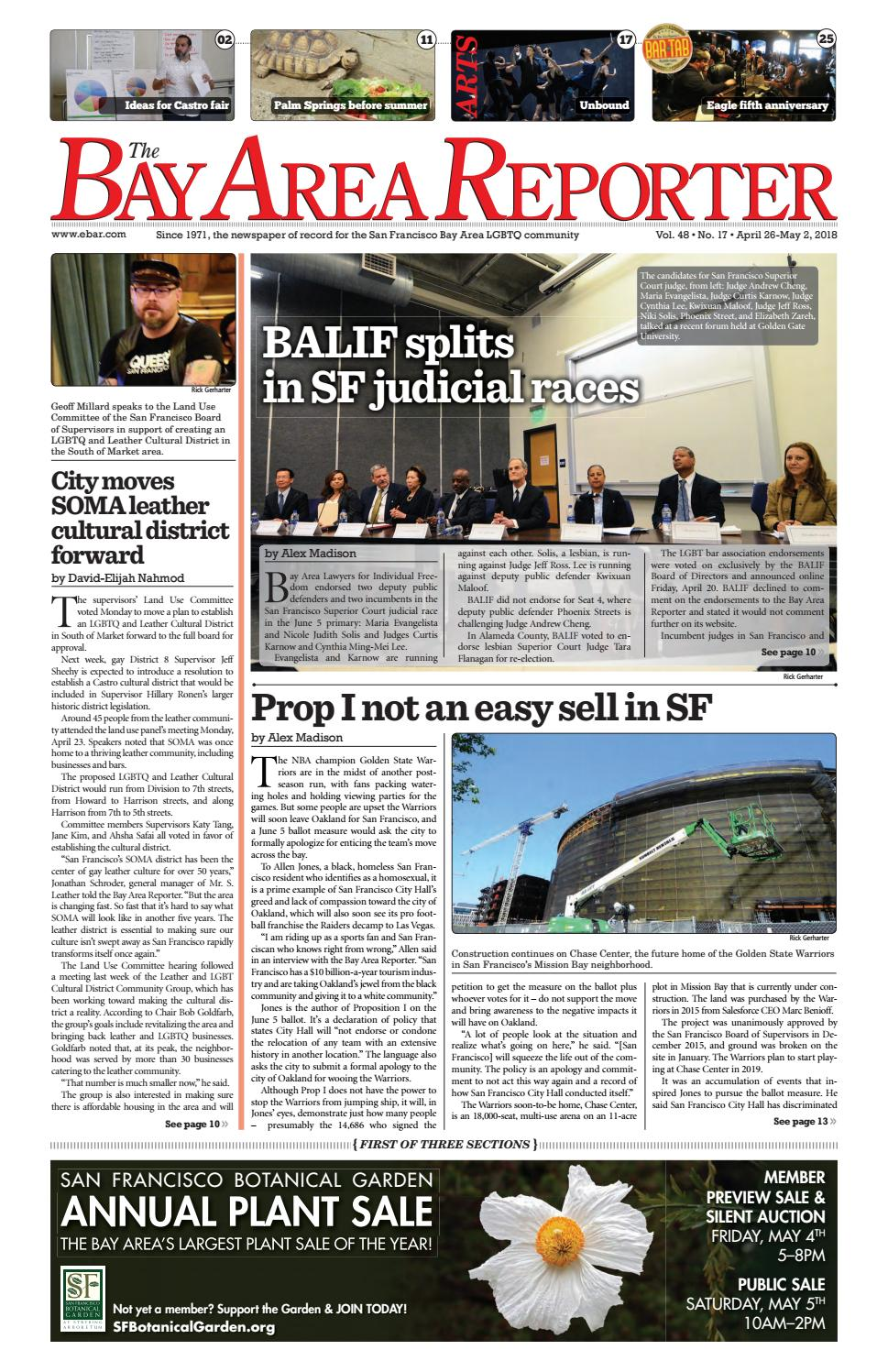 788c201d15 April 26 2018 Edition of the Bay Area Reporter by Bay Area Reporter - issuu