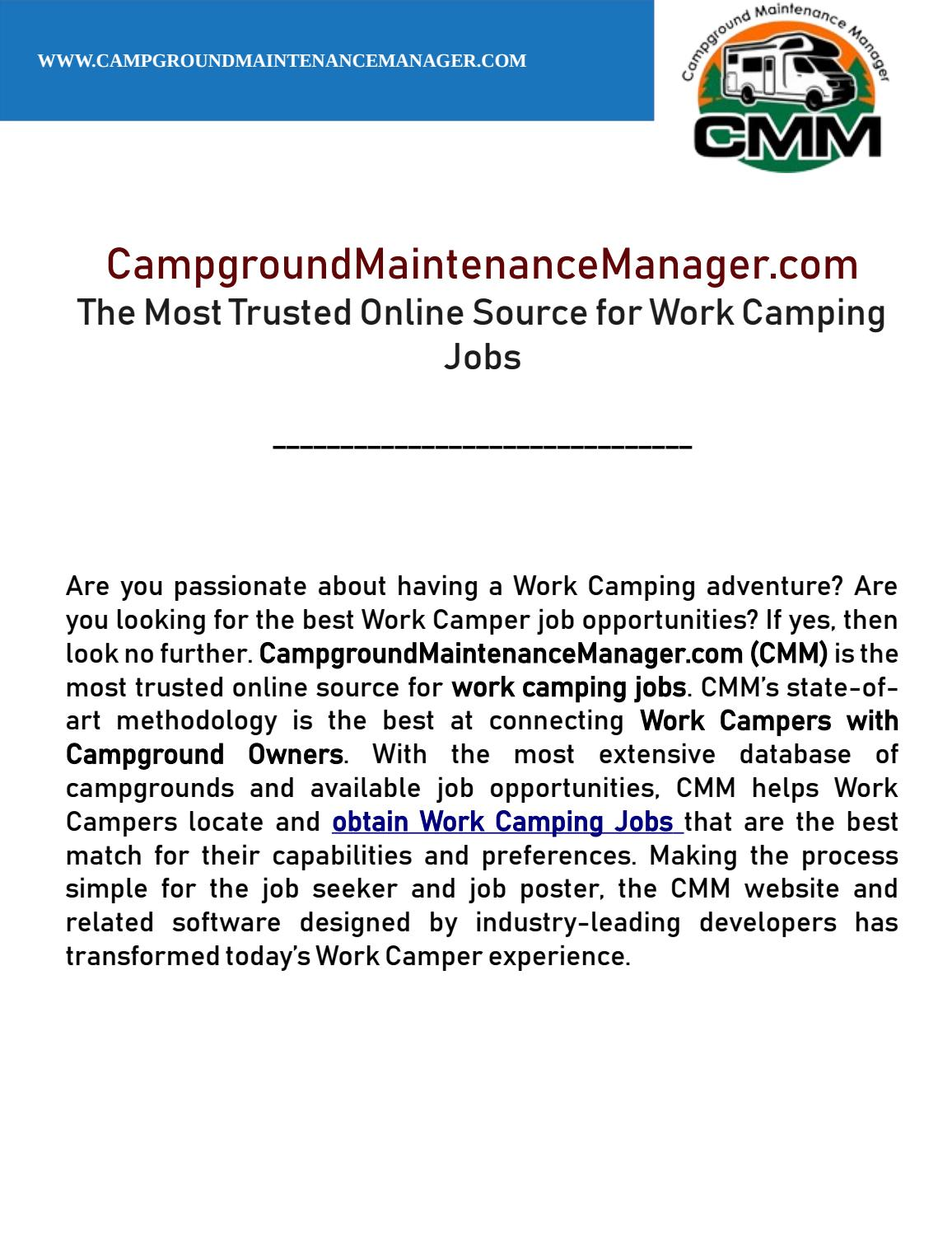 Campgroundmaintenancemanager com the most trusted online source for work camping jobs