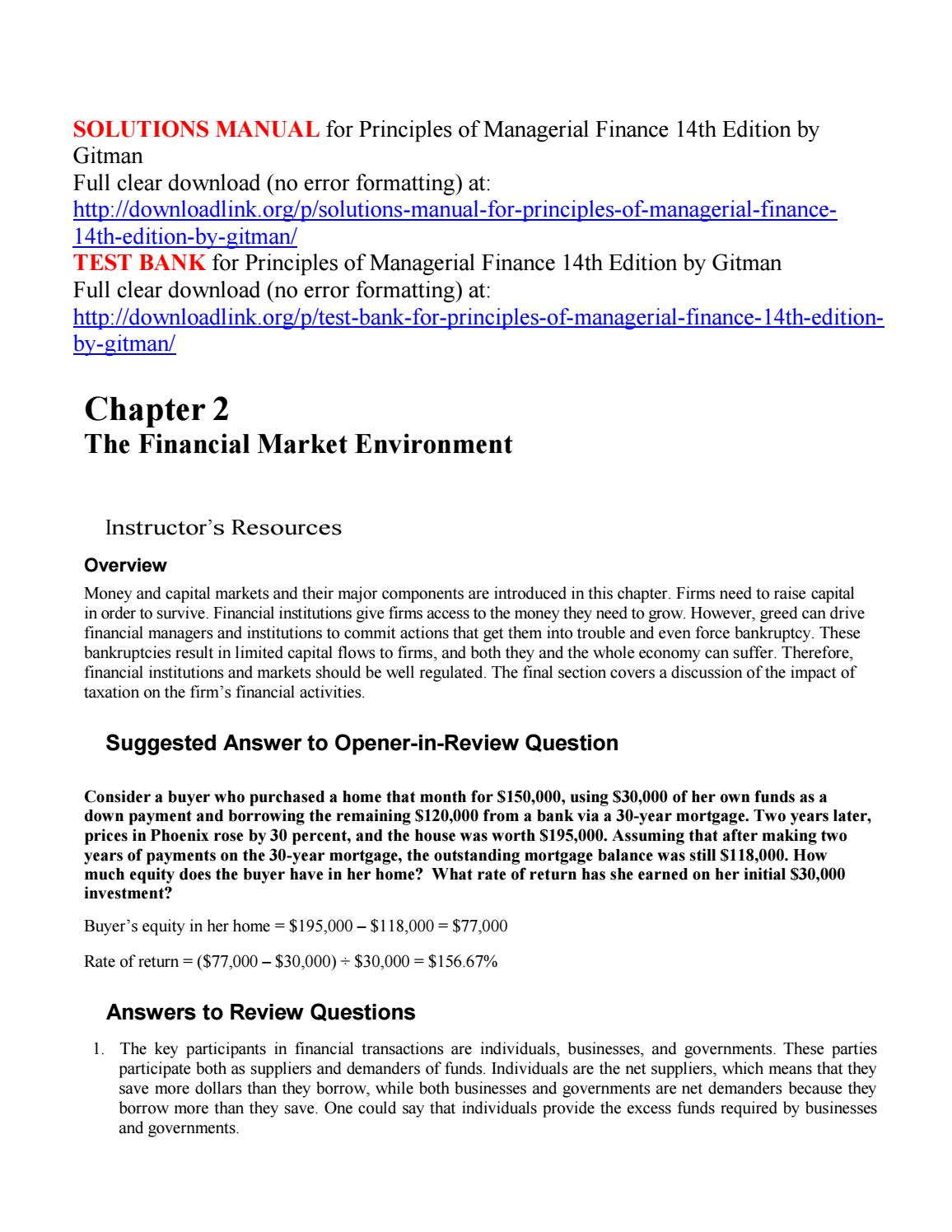 Solutions manual for principles of managerial finance 14th edition by  gitman by downloadlinkKris - issuu