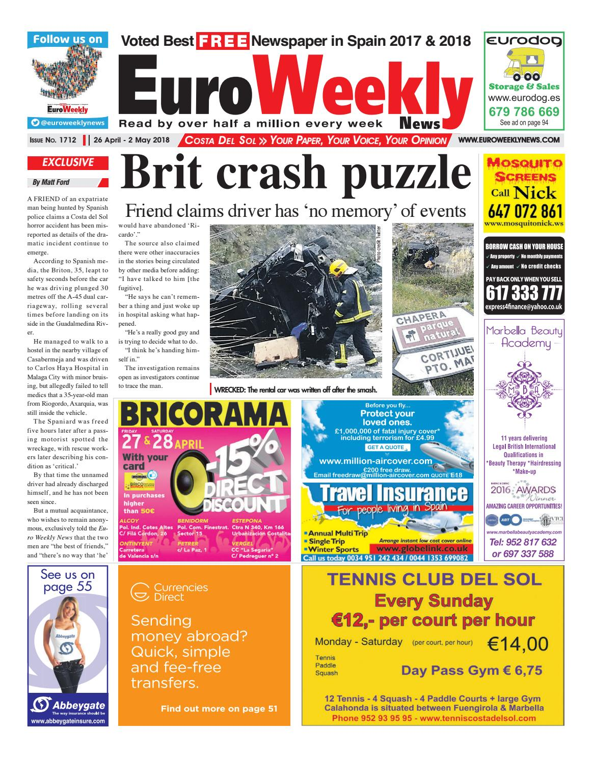 Euro weekly news costa del sol 26 april 2 may 2018 issue 1712 by euro weekly news costa del sol 26 april 2 may 2018 issue 1712 by euro weekly news media sa issuu fandeluxe Images