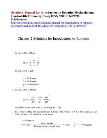 solutions manual for introduction to robotics mechanics and control rh issuu com solution manual introduction to robotics craig Industrial Robots