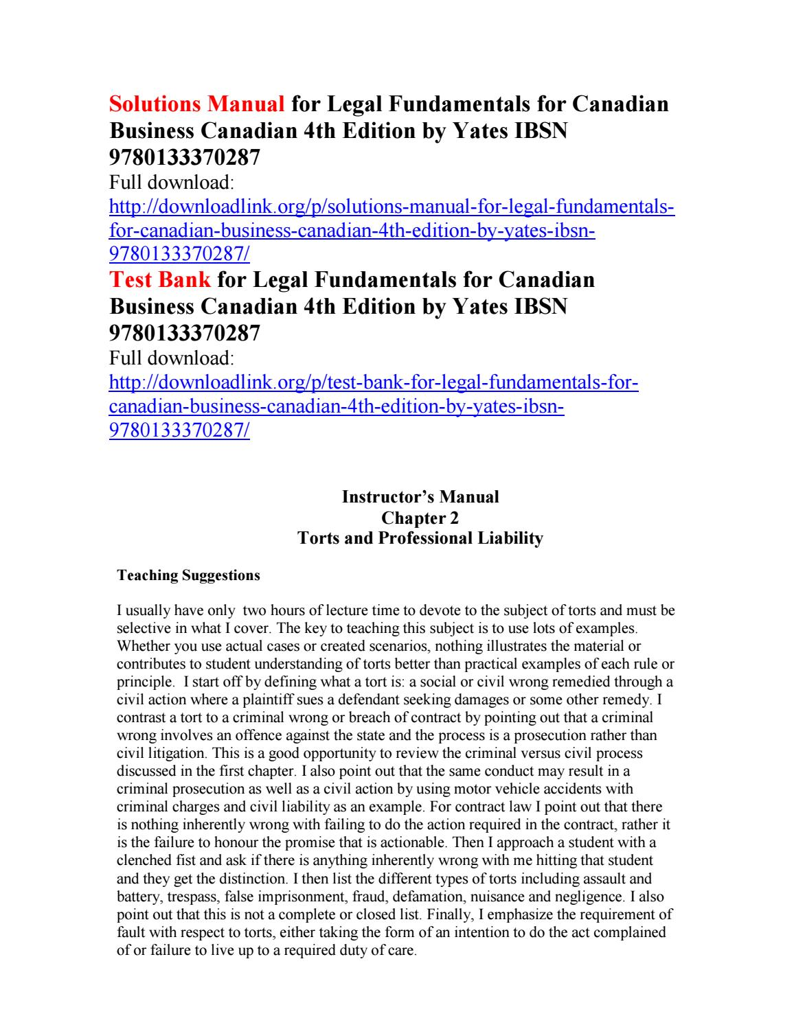 Solutions manual for legal fundamentals for canadian business canadian 4th  edition by yates ibsn 978 by Billingsley111 - issuu