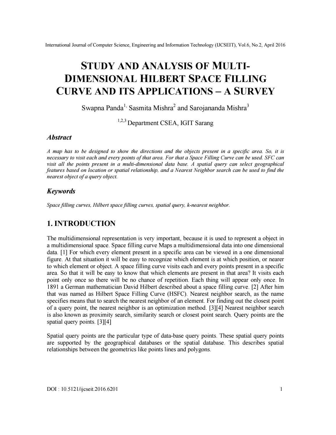STUDY AND ANALYSIS OF MULTIDIMENSIONAL HILBERT SPACE FILLING