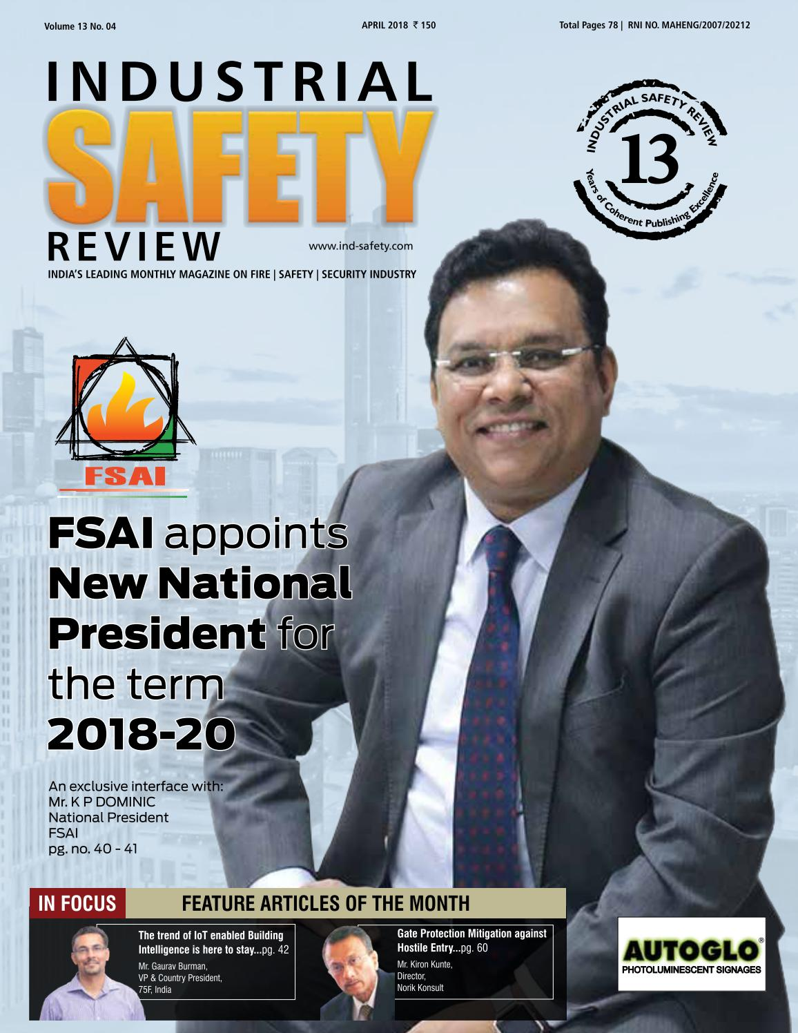 INDUSTRIAL SAFETY REVIEW APRIL 2018 by Divya Media Publications Pvt