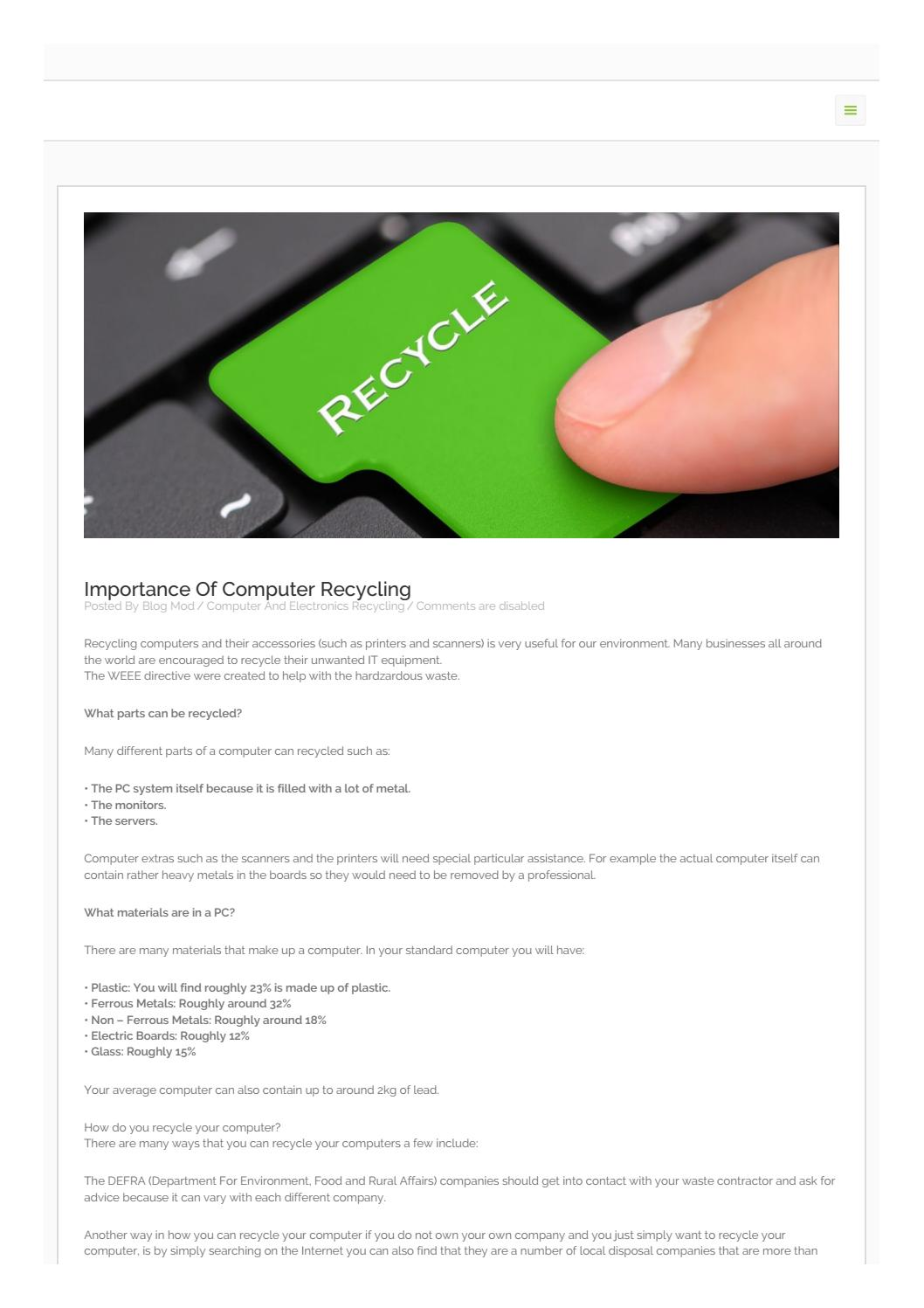 Importance Of Computer Recycling By Recycleaid Issuu Machinery Circuit Board Scrap