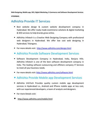 Web Design And Mobile App Services In Hyderabad By Adhishta20 Issuu
