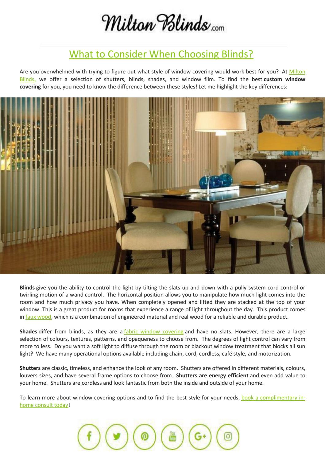 bc6ddbf89608 What to Consider When Choosing Blinds? by Milton Blinds - issuu