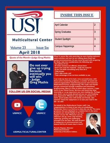 Usi Calendar.April 2018 Newsletter By Usi Multicultural Center Issuu