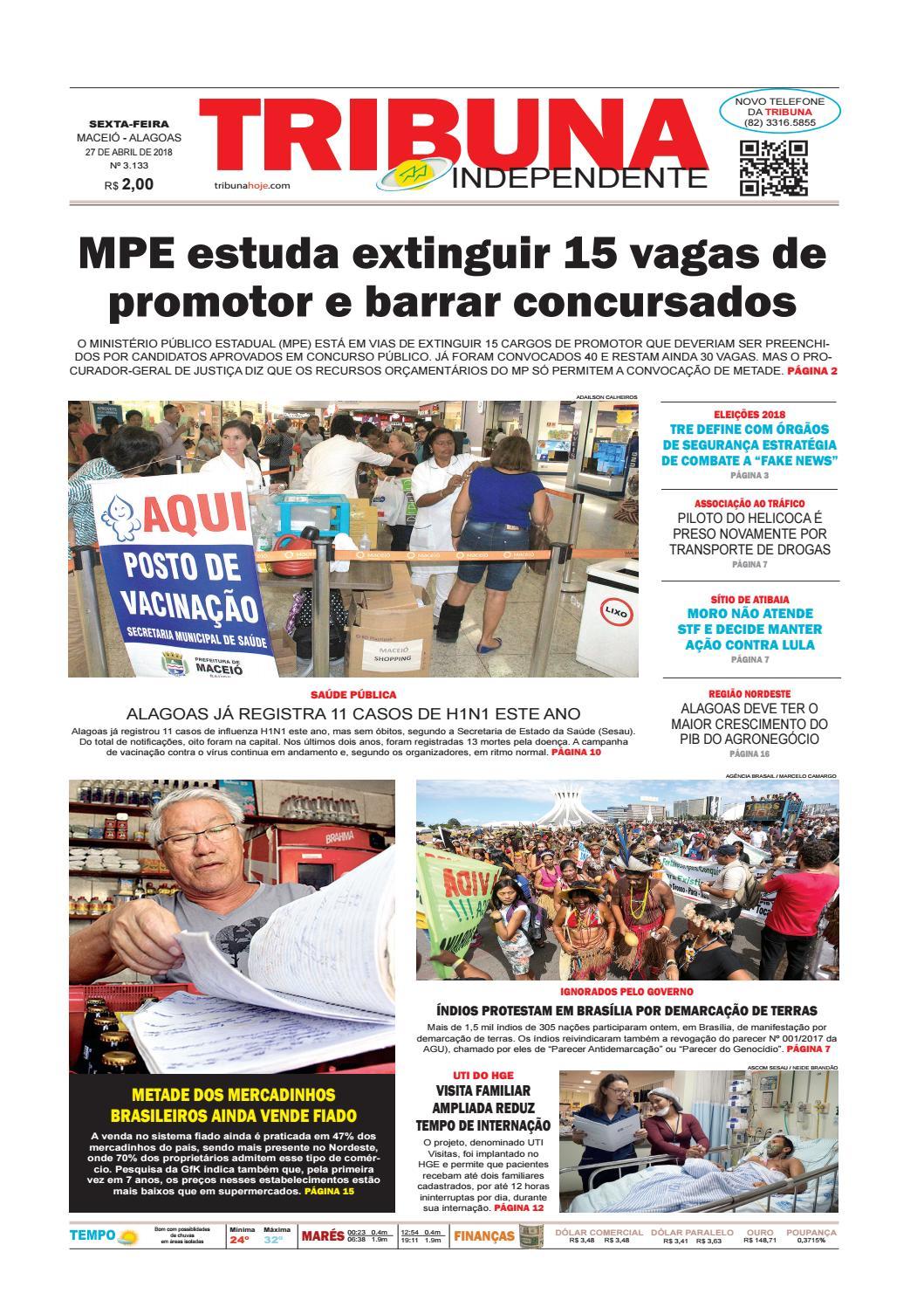 e1026e415 Edição número 3133 - 27 de abril de 2018 by Tribuna Hoje - issuu