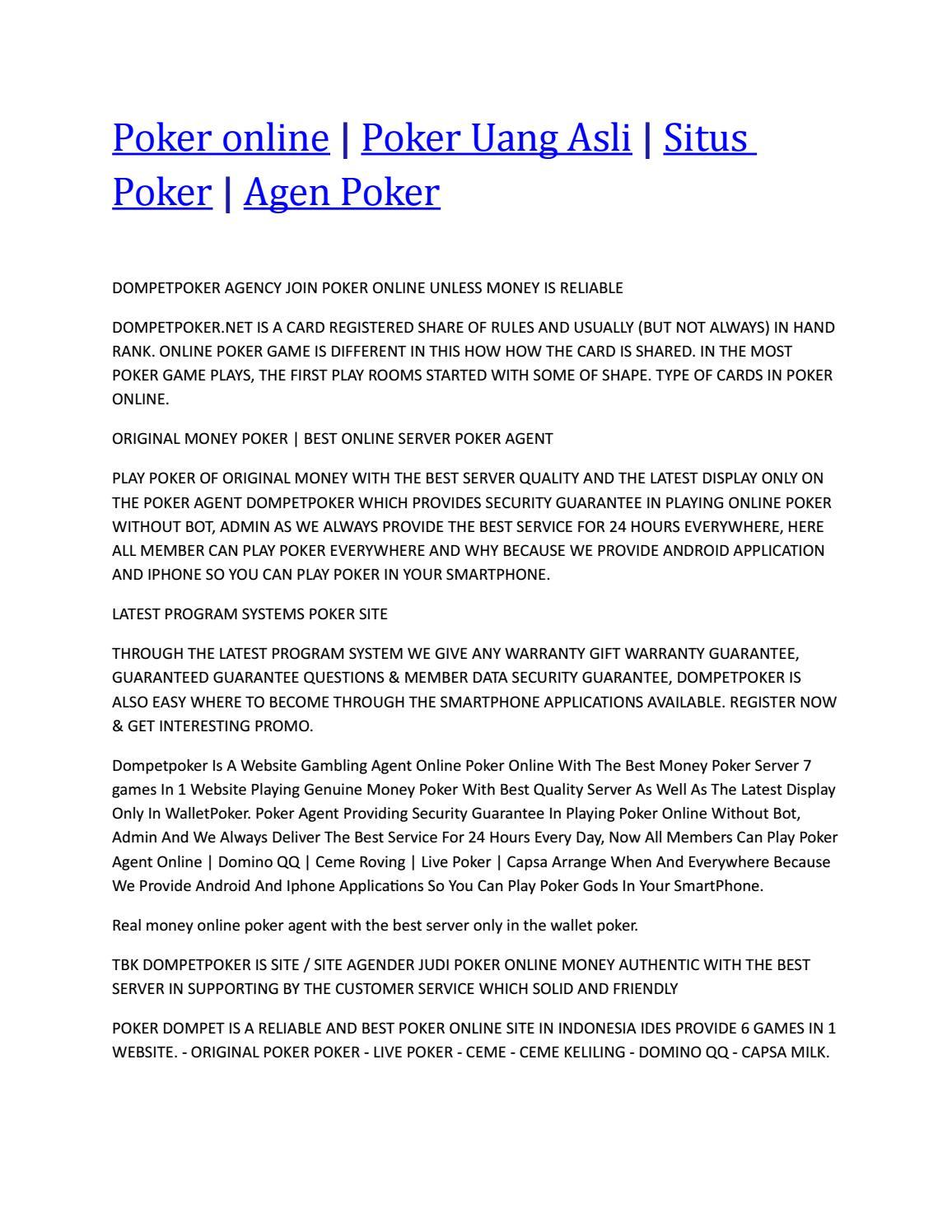 Poker Online By Poker 99 Issuu